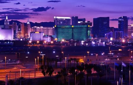vegas strip: Las Vegas - Vages Strip at Night Panorama. Famous Cities Photo Collection. Las Vegas, Nevada, USA.