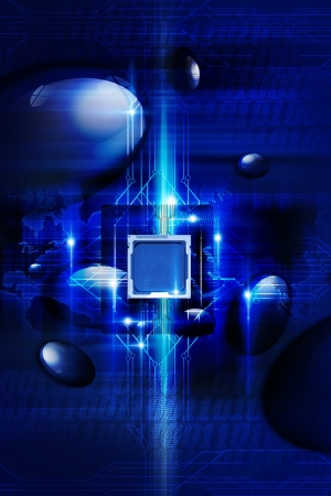 Digital Blue Background with Nano Processor, Circuit Board and Some Digital Effects. Technology Collection. photo