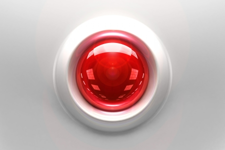 Red Glassy Button - 3D Rendered Graphic. Technology Collection