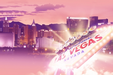 Shiny Las Vegas Background. Ultraviolet Vegas Background Theme with Las Vegas City Entrance Sign. Las Vegas, Nevada, USA. Famous Places Photo Collection. Stock Photo - 17877257