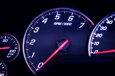 motorsport: Car Dash with Instruments. Rounds Per MInute Dial. Motorsport Photo Collection.