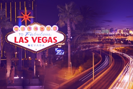 Streets of Las Vegas. Sin City at Night. Illuminated City of Las Vegas, Nevada, USA. Ultraviolet Collage Postcard. Famous Places Collection. Stock Photo - 17877260