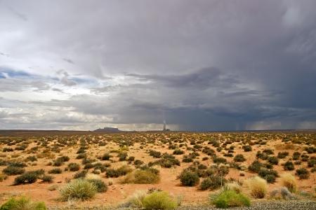 rainfall: Desert Storm in Arizona, USA. Page, AZ Region. Desert Landscape with Power Plant on Horizon. Travel Photography Collection.