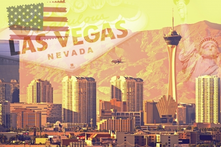 Greetings From Las Vegas, Nevada. Vegas Postcard in Retro Ultraviolet Style. America's Famous Places. Las Vegas, NV, U.S.A. Stock Photo - 17877261