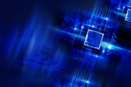microprocessors: Nano Technology - Processors and Circuit Board. Cool Blue Glowing Laser Blue Elements Technology Background. Quantum Technology. Technology Imagery.