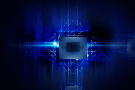 data processors: Powerful Processor - Nano Technology - Computers Background. Electronics Illustrations Collection.