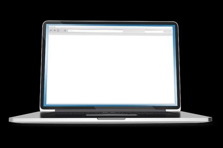 Laptop op een zwarte achtergrond. Lege Browser venster op het scherm. Computers Illustraties Collectie. Stockfoto