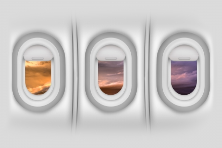 window view: Airplane Windows  Porthole - Aircraft Side Passengers Windows From Inside. Beautiful Sunset Outside. Airplanes  Flight Illustration. Detailed Illustration - Wall Material Texture.