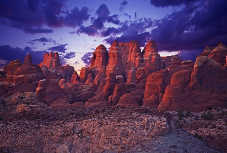 natural wonders: Amazing Utah Sandstone Rocky Landscape in Sunset. Arches National Park, Utah, USA. Natural Wonders Photography Collection.