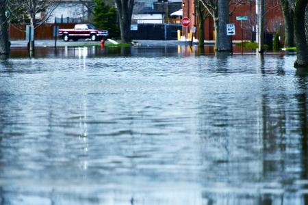 Deep Flood Water on the Street. Illinois Big Flood.