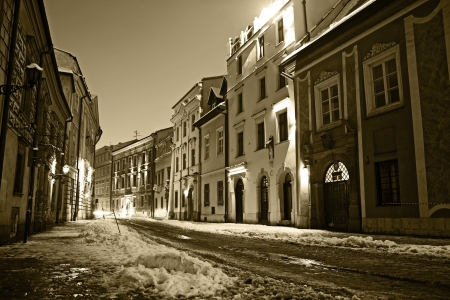 Krakow Old Town in Sepia. Old Krakow at Night. Krakow, Poland. Architecture Photography Collection.