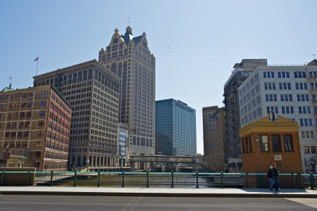 state of wisconsin: Downtown of Milwaukee Wisconsin. Milwaukee is the Largest City in the USA State of Wisconsin and is Located on the Southwestern Shore of Lake Michigan. Cities Photo Collection.