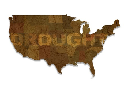 catastrophic: Drought USA Map Isolated on White. American Drought Theme Stock Photo