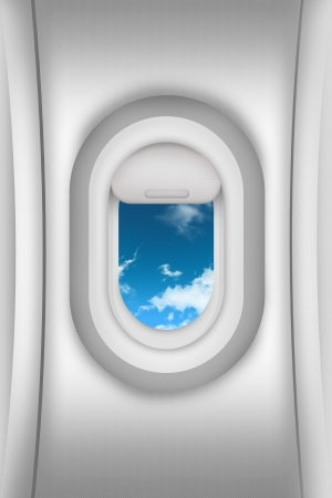 airplane window: Aircraft Window and Blue Cloudy Sky. Airplane Window Illustration. Air Traveling Theme. Cabin - Interior Airplane Window View. Transportation Illustrations Collection.