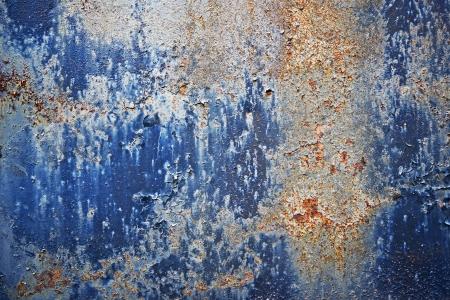 녹슨: 파란색 페인트 금속 배경 부식. 지저분한 녹슨 금속 질감을 쿨. 배경과 텍스처에 사진 컬렉션.