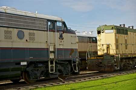 diesel locomotives: Old Out of Service Diesel Locomotives in Illinois State, USA. Railroad Photo Collection Editorial