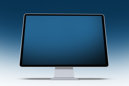 pc: Modern Computer Screen on Blue Background - Illustration. Computers Technology Illustrations Collection.