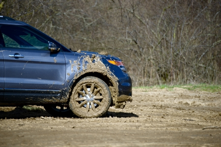 Dirty Off-Road Driving. Super Dirty Modern SUV. Off-Road Photo Collection.