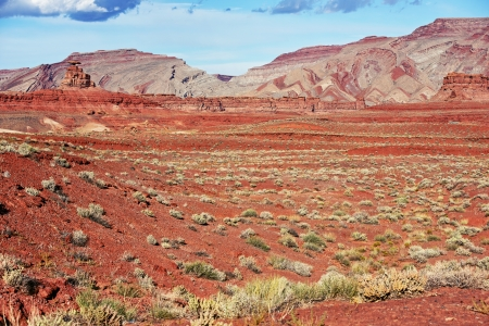 redstone: Raw Dry Utah Desert Landscape. Mexican Hat Place, Utah, USA. Nature Photo Collection. Stock Photo