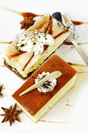 tasteful: Cheesecake Slices Top View. Sweet and Tasteful Cheesecakes. Vertical Photo.