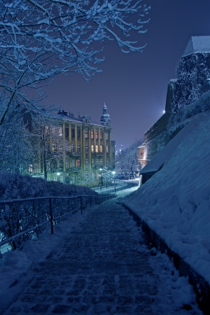 bluish: One Winter Night in Krakow, Poland. Krakow Under the Snow. European Photography Collection.