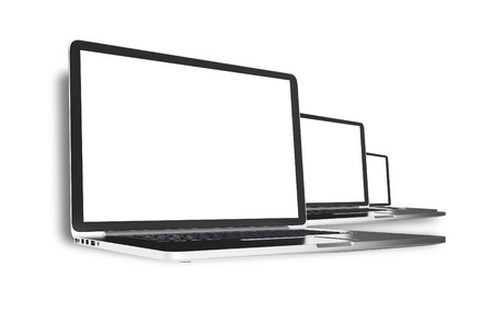 Drie computers die op Wit Moderne laptops Lineup Computers Technology Collection 3D Gesmolten afbeelding Stockfoto