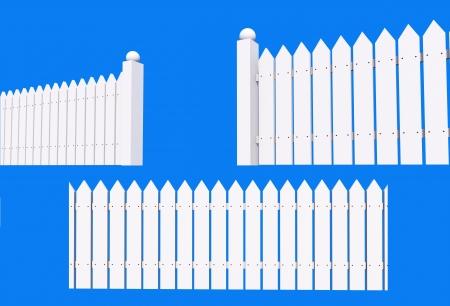slats: White Painted Backyard Wood Fence Isolated on Blue Background   Stock Photo
