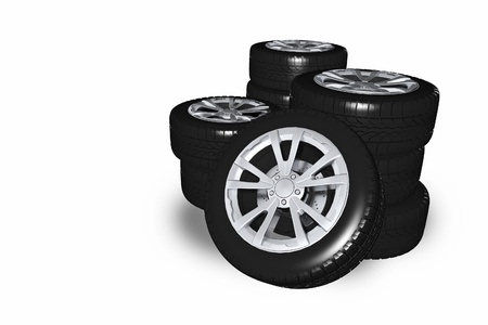 Alloy Wheels Pile Isolated on White. 3D Rendered Illustration. Transportation Objects Collection.