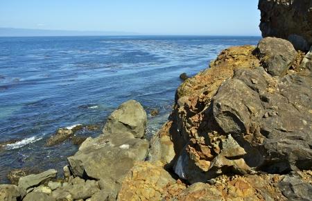 strait of juan de fuca: Strait of Juan de Fuca in Washington State, USA. Rocky Shore. Stock Photo
