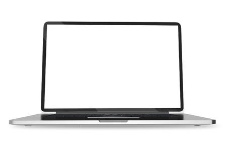 notebook: Notebook on White. Modern Laptop Computer Isolated on White Background. Computers Technology Collection. Stock Photo