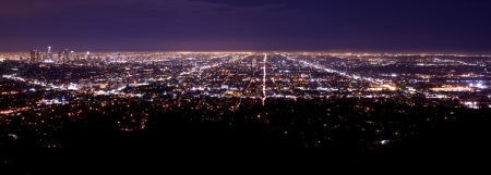 Los Angeles Metro Area Night Time Panorama. Los Angeles Downtown on the Left Side. American Cities Photo Collection. photo