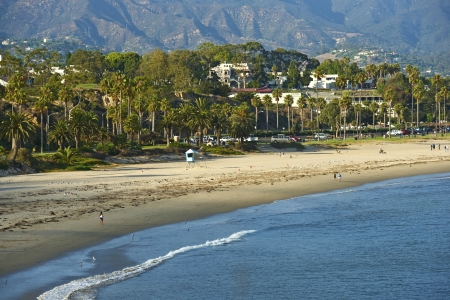 barbara: Santa Barbara, CA - Oceanside. Santa Barbara Pacific Ocean Beach in Hot Summer Day. California Photography Collection. Stock Photo