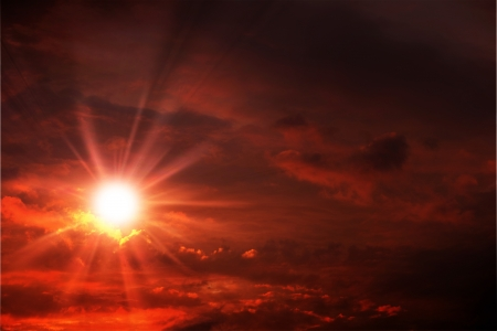 Red Sunset Sky Background. Weather Collection.