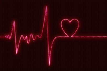pulsing: Cardiogram Heart Beat Abstract Illustration with Heart Traced. Healthcare Illustrations Collection. Stock Photo