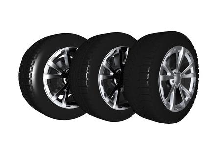 Car Wheels 3D Illustration Isolated on White. Car Wheels Illustration. Transportation Collection. Stock Photo
