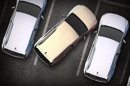 Bad Driver on Parking - Vreemd geparkeerde auto op de parkeerplaats. Bovenaanzicht illustratie. Stockfoto