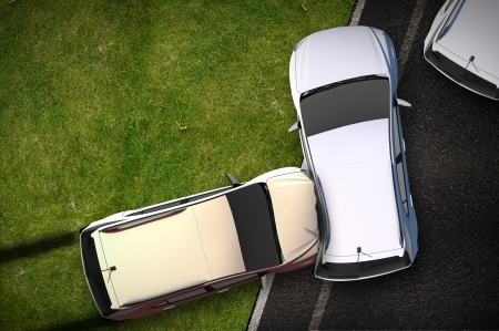 Cars Crash Illustration - Bird View (Top View) DUI Theme. Cars Side Collision  Accident. Transportation Illustration Collection.