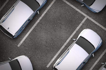 view from the above: Free Parking Spot Between Other Cars. Top View. Urban Transportation Illustration. Stock Photo