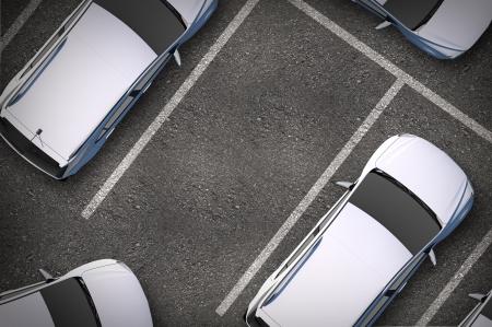 voiture parking: Place de stationnement gratuite Entre autres voitures. Top View. Illustration Transport Urbain.