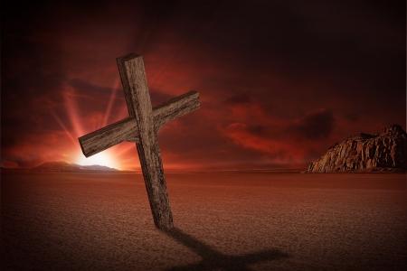 abandoned: Abandoned Crucifix on Desert in Sunset. Christians Theme. Crucifix Illustration. Stock Photo