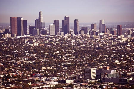 Los Angeles Cityscape in Hot Summer Day. Downtown Los Angeles and Nearby Areas. LA, California Panorama. American Cities Photo Collection  photo