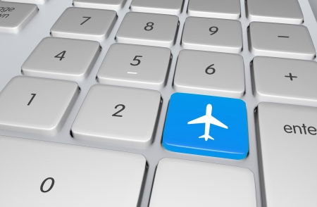 Blue Flight Booking Button on the Computer Keyboard  Flight   Travel Online Booking System  Traveling Illustration