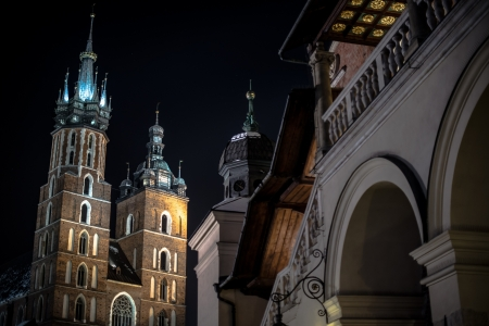 Krakow Main Square at Night  Krakow, Poland  Architecture Photography Collection  photo