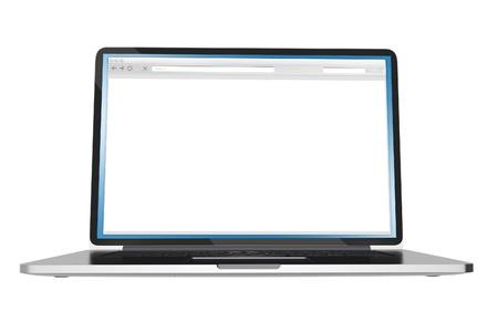 Laptop Computer - Lege Browser on Display Ruimte kopiëren die op Witte Computers Collection Stockfoto