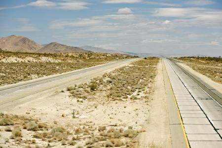 mojave: Pretty Empty Mojave Desert Highway in Southern California, USA  Stock Photo