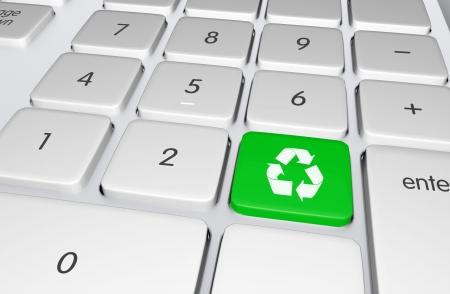 エコロジー オンライン教育イラストをリサイクルするキーボードのプッシュ ボタンをリサイクル グリーン