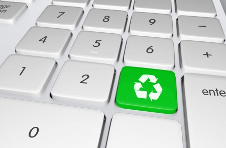 Green Recycling Button on the Keyboard  Push to Recycle  Ecology Online Education Illustration  Stock fotó