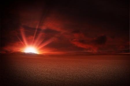 desert storm: Red Sky Desert Sunset Illustration.