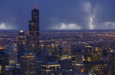 lighting: Skyline Chicago with Storm in a Distance. Chicago South Side View. Chicago, IL USA. Stock Photo