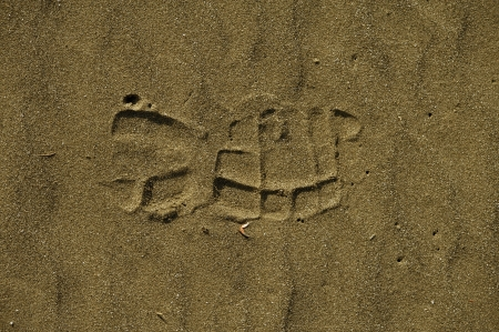 footmark: Foot Print in Sand Closeup Stock Photo